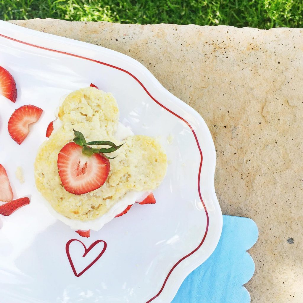 Mickey strawberry shortcake, sliced strawberries, Valentine's Day plate, light blue scalloped napkin, stone bench, green grass
